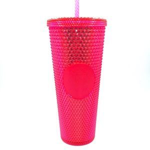 New Starbucks Christmas Neon Pink Tumbler 24 OZ